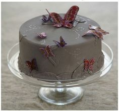 grey icing with butterflies