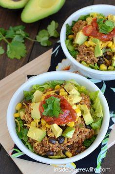 Beef Taco Quinoa Salad Bowls - taco meat and quinoa on a salad with all the taco toppings