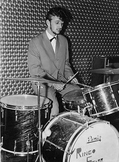 Early photo of a rockabilly Ringo Starr on a Premier kit.