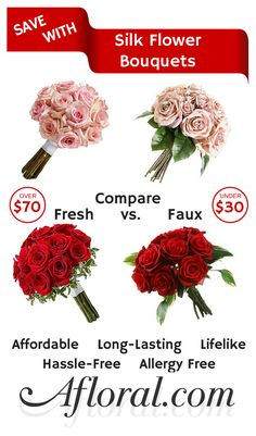 Budget Friendly Wedding Ideas. Looking for a way to get cheap flowers that look great? Silk flower bouquets from Afloral.com are a great way to save money and keep the luxe look you want at your wedding. Silk flowers are affordable, long-lasting, great for brides with allergies, and will look good before, during and after your wedding day.