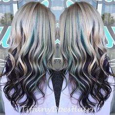 "39 Likes, 1 Comments - Tiffany Allen (@tiffanydoeshairr) on Instagram: ""Sea foam green and violet peekaboos for one of my favs!!"""