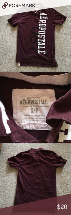 Aeropostale rugged collared polo. Burgundy color.Excellent condition. Non-smoking home. Aeropostale Shirts Polos