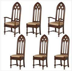 6 Piece Viollet-le-Duc Gothic Cathedral Chair Set