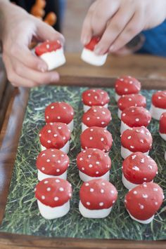"""Minecraft Birthday Party snacks: take jumbo marshmallows and dip them in to red candy melts to create """"Red Mushrooms."""" I even put little white chocolate dots on the top."""