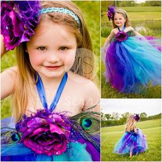 Couture flower girl with peacock theme