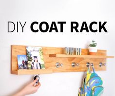 Hey guys! Today we're gonna walk through how to make an easy DIY entryway coat rack, magnetic key holder, organizer shelf…. DIY thing to put your stuff on when you walk through the door.We've included plans for this project but it's really customizable. You could make it any length you want, rearrange the shelves, have more or less hooks, etc, whatever best fits your space and needs. Have a tiny wall? Make a 2-ft version with one shelf. Got 8 kids? Wel...