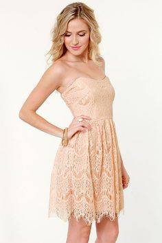 Strapless Pink Lace Dress - $47.00 - Lulu*s  This in brighter pink for bridesmaids :)