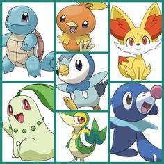 My starters from every region in Pokemon.