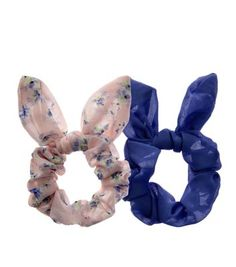 2 Pack Blue and Pink Floral Print Bow Scrunchies