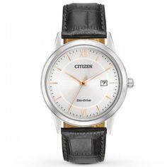 A classic style, the Men's Citizen Eco-Drive Strap Watch uses a black leather strap and stainless steel case. This high quality watch also uses Citizen Eco Drive Movement