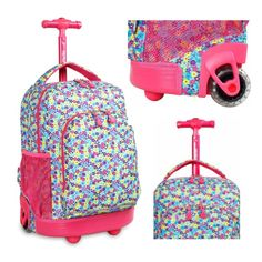 """Buy Brand New Girls #Rolling #Backpack #School Student #BookBag Wheeled Carry On Pink 17"""" Travel"""