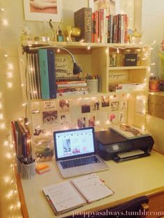 11 Unexpected Ways to Decorate Your Dorm With Holiday Lights is part of Study Room Organization - 1 is a yearround dorm decor staple! Dorm Desk Decor, Dorm Desk Organization, Dorms Decor, Desk Organisation Student, University Rooms, Student Room, Uni Room, Dorm Life, College Life
