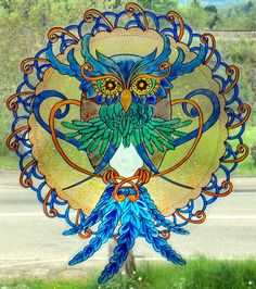 WICOART WINDOW COLOR STICKER STATIC CLING STAINED GLASS MAGIC OWL CHOUETTE GUFO
