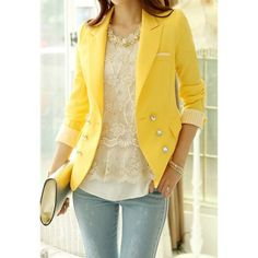 Stripe Tailored Collar Long Sleeves Polyester Ladylike Style Women's Blazer (YELLOW,S) | Everbuying.com