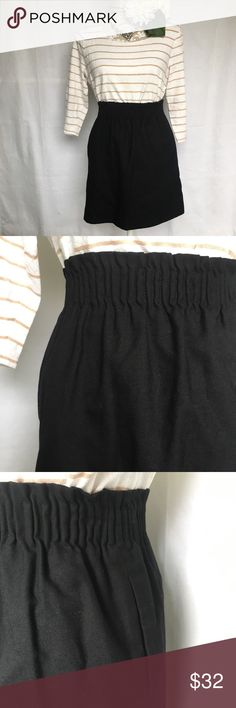 """J. Crew // Factory Wool Sidewalk Skirt - Black A closet staple black skirt from J. Crew Factory. Black color. Paper bag skirt style with a pleated, elastic waist. Wool blend material. Has pockets! In excellent condition. Honestly one of my favorite skirts, I wish it fit. Also was great for a lot of costumes, mary poppins.   Measurements (approx) Waist 26"""" Hips 36"""" Length 17"""" J. Crew Skirts Mini"""