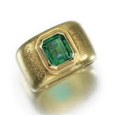 EMERALD RING, GRIMA, 1960S. Inset to the centre with a step-cut emerald to a wide patterned band, size P½, signed Grima.