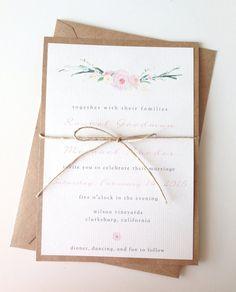 Rustic Romantic Floral Wedding Invitations by LemonInvitations