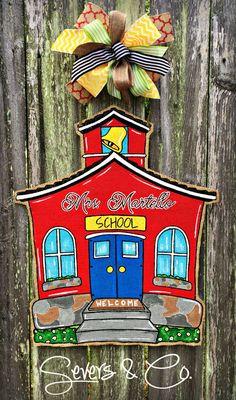 Little Red Schoolhouse Burlap Door Hanger by Severs & Co. Teacher Door Hangers, Teacher Doors, Teacher Signs, Canvas Door Hanger, Burlap Door Hangers, School Door Decorations, School Wreaths, Painted Doors, Painted Signs