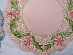Pink Vintage 1940s Set of 5 HAND COLORED & Plain 6 Inch Paper Doilies Each One Unique Ornate Unused Wedding Crafts Shower Scrapbooking