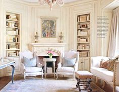 Fortuny fabric pillows on antique French furniture