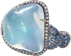 ARUNASHI ~ Water Opal And Sapphire Ring