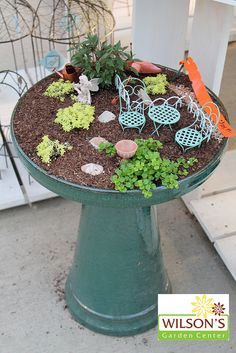 "Fairy Garden---could make your own. Paint a large ceramic pot for the base and turn it upside down. Use the planter ""saucer"" for the top part. Fill with dirt, succulents and small items from the dollar store. <3"