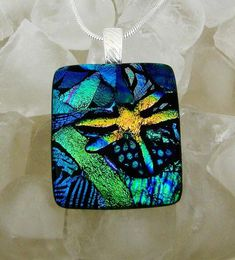 DRAGONFLY Dichroic Glass Pendant - by dichroiccreations