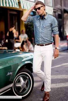 The entire picture is grand from the Mustang to his pairing of Chambray and white pants with that belt. Oh wait you have a terrible hair cut. Mode Masculine, Sharp Dressed Man, Well Dressed Men, Looks Cool, Men Looks, Jean Chino, Stylish Men, Men Casual, Casual Attire
