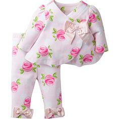 Baby Swing Girl | David Tutera Apparel Girls' Assymetrical Jacket and Legging Set, Rose, 6-9 Months