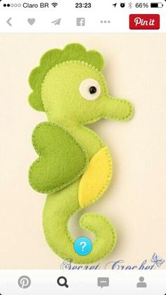 Seahorse Lime Green Body with Yellow Tummy & Green Fins
