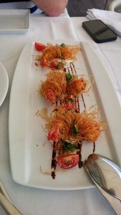 Fried shrimps in filo pastry with lemon mayonnaise and parsely gremolata – taste of Mozambique @ Restaurant IBO