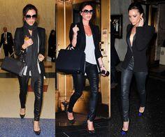 Victoria does it perfect. Leather pants, white/grey flowy shirt, blazer, long black scarf, Chanel bag