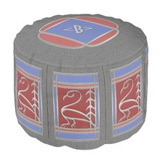 Art Deco Bird and Pine -Gray Blue Red -Monogrammed - This versatile Pouf offers a clean, understated design inspired by a vintage Art Deco match box. The sides feature a repeated simple line depiction of a bird & pine tree set into a Frank Lloyd Wright style window grid having the appearance of stainless steel. With accents in cornflower blue and a pinkish red the window is set against a gray granite. On top is a coordinating medallion  w/a custom text field for monogram or initials.