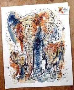Beautiful Elephants by Tori Ratcliffe Art <3