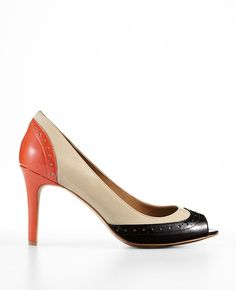 Ann Taylor - AT Heels - Perfect Colorblocked Patent Leather Peeptoe Heels