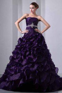 Dark Purple Strapless Taffeta and Organza Quinceanea Dress with Ruffles