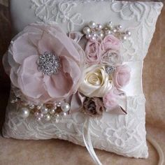Set Of Gray Shabby Chic Embellishment - maallure Ring Bearer Pillows, Ring Pillows, Wedding Ring Cushion, Wedding Pillows, Shabby Chic Pillows, Shabby Chic Crafts, Silk Ribbon Embroidery, Wedding Crafts, How To Make Pillows