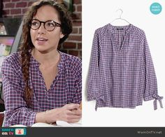 Mattie's purple plaid top on The Young and the Restless.  Outfit Details: https://wornontv.net/73507/ #TheYoungandtheRestless