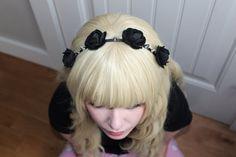 Cute Black Felt Rose and Spike Headband Gothic by GentleFaun, $20.00