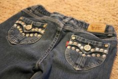 DIY bling Jeans! I cant wait to try this!!