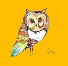 Art prints White owl night flyer Giclee art print by O2Optimist, $35.00