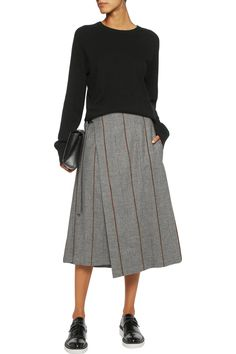 Wrap-effect houndstooth wool and cashmere-blend midi skirt | Brunello Cucinelli | RU | THE OUTNET
