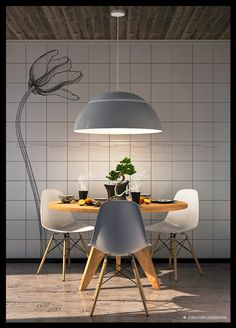 """""""Orange and Tea, breakfast for three"""" interior visualization. Modeling, texturing, lighting and render in Cinema color correction in Photoshop. 3d Cinema, Kitchen Dining, Dining Room, Interior Rendering, Color Correction, Eames, French Doors, 3 D, Orange Table"""