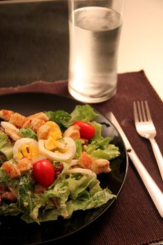 A different kind of ceasar salad. Filling and healthy dinner salad for two.