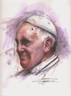 Massimo Capogna - Artist: Acquerello.Papa Francesco