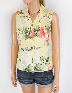 Ko Olina Print Sleeveless Floral Blouses : Hawaiian Wedding Place #women's shirts