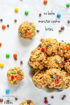 These No Bake Monster Cookie Bites have the same great peanut butter and chocolate flavors made into snack bites. Great for on the go or a snack.