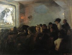 John Sloan (American, 1871-1951)   1907, Movies, Five Cents, oil on canvas 59.7 x 80 cm