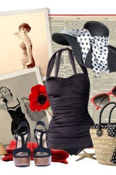 Esther Williams Swimwear - classic fifties badpak Black