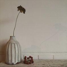 こちらはお花を長く切って繊細さを強調し、ぽってりとした花器とのコントラストを楽しんでいます。